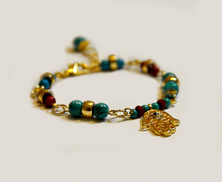 Hamsa Bracelet with Beaded Details  Gold Blue and Red by amourose, $19.99