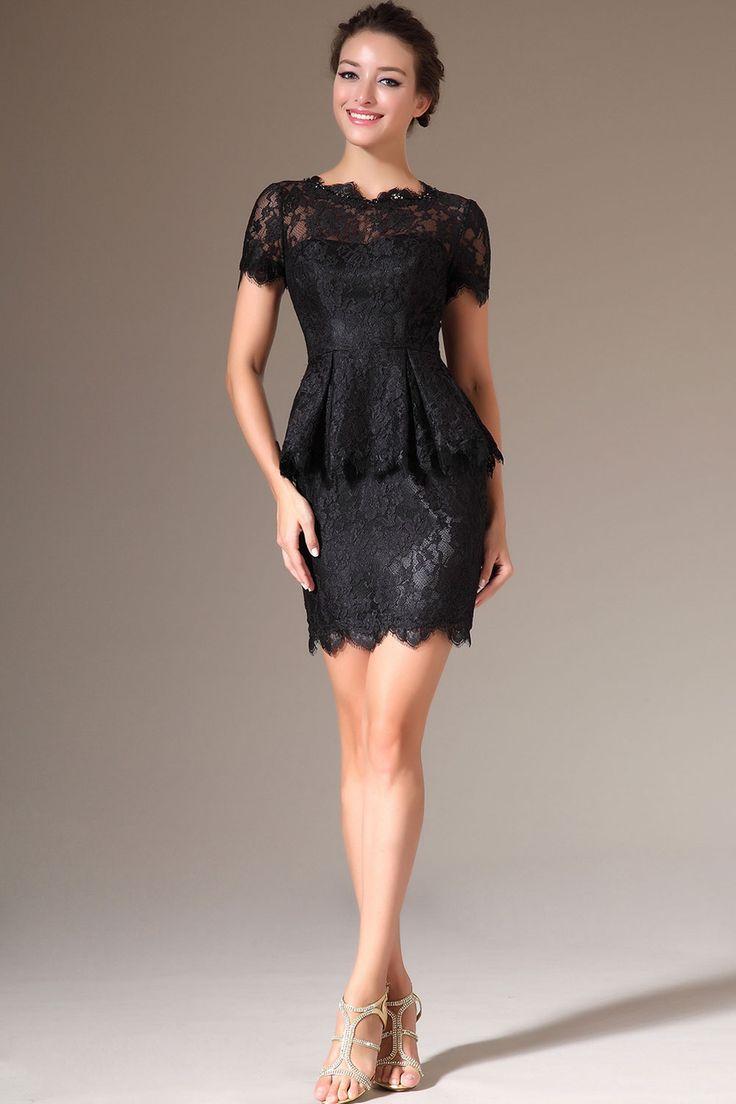 Black Short Jewel Sheath Lace Short Sleeves Dress