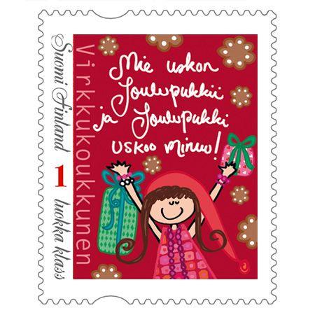 """Postimerkki """"Mie uskon joulupukkii ja joulupukki uskoo minuu"""""""