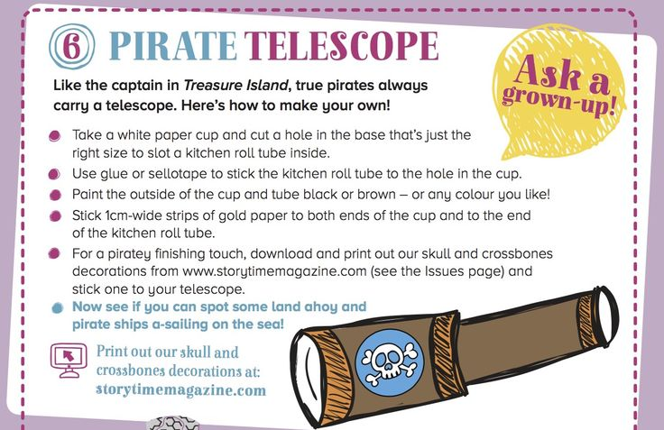 Pirate Telescope craft ahoy for little Treasure Island fans in Storytime Issue 7! ~ STORYTIMEMAGAZINE.COM