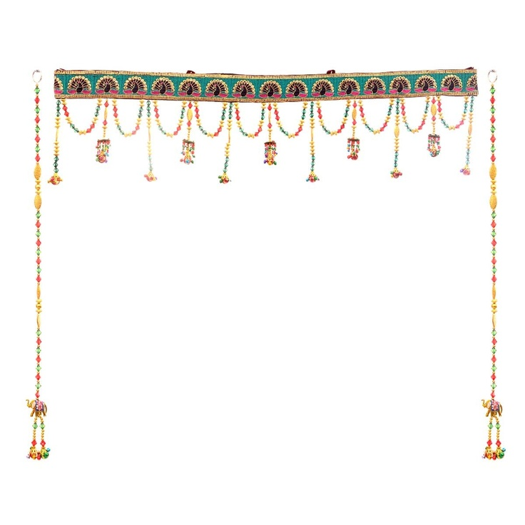 Multi-color Toran set Toran: a handcrafted decorative door hanging, used to adorn the main entrance door - a sign of prosperity. Torans' have traditionally adorned Indian homes to welcome guests with good wishes and blessings as they enter a household. Toran with one pair of strings Dimensions: W: 36 inches, H: 7 inches and Strings H: 28 inches Material: Metal and beads Color: Multi-colored Inspiration: Door decoratives from Jaipur