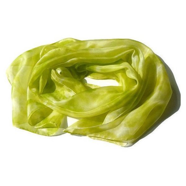 Fresh lime painted silk scarf - green silk scarf - lime, chartreuse (€28) ❤ liked on Polyvore featuring accessories, scarves, silk scarf, silk shawl, green silk scarves, green scarves, long scarves and christmas silk scarves