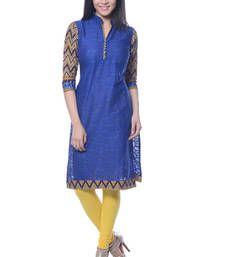 Buy Blue Printed Jacquard kurti kurtas-and-kurti online