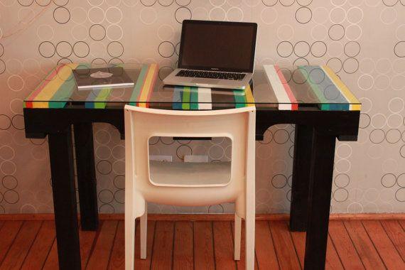 Mesa escritorio de madera tipo pallet tarima hecho - Escritorio de palets ...