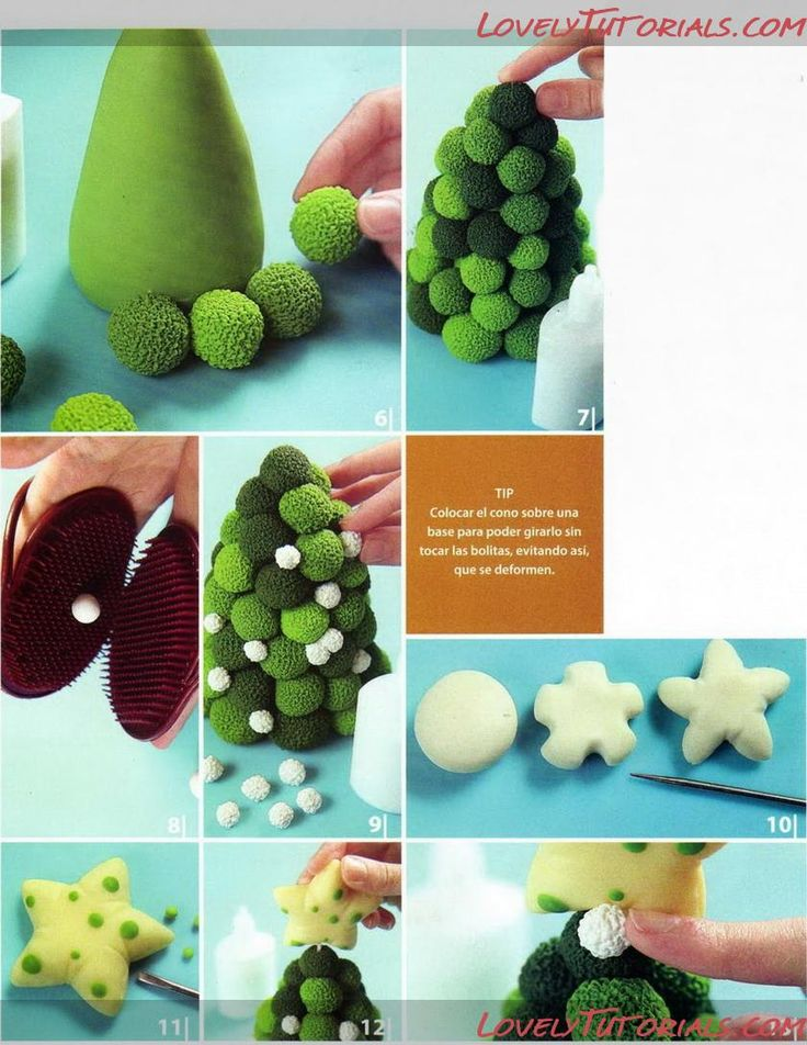 Gumpaste (fondant, polymer clay) Christmas trees making tutorials.