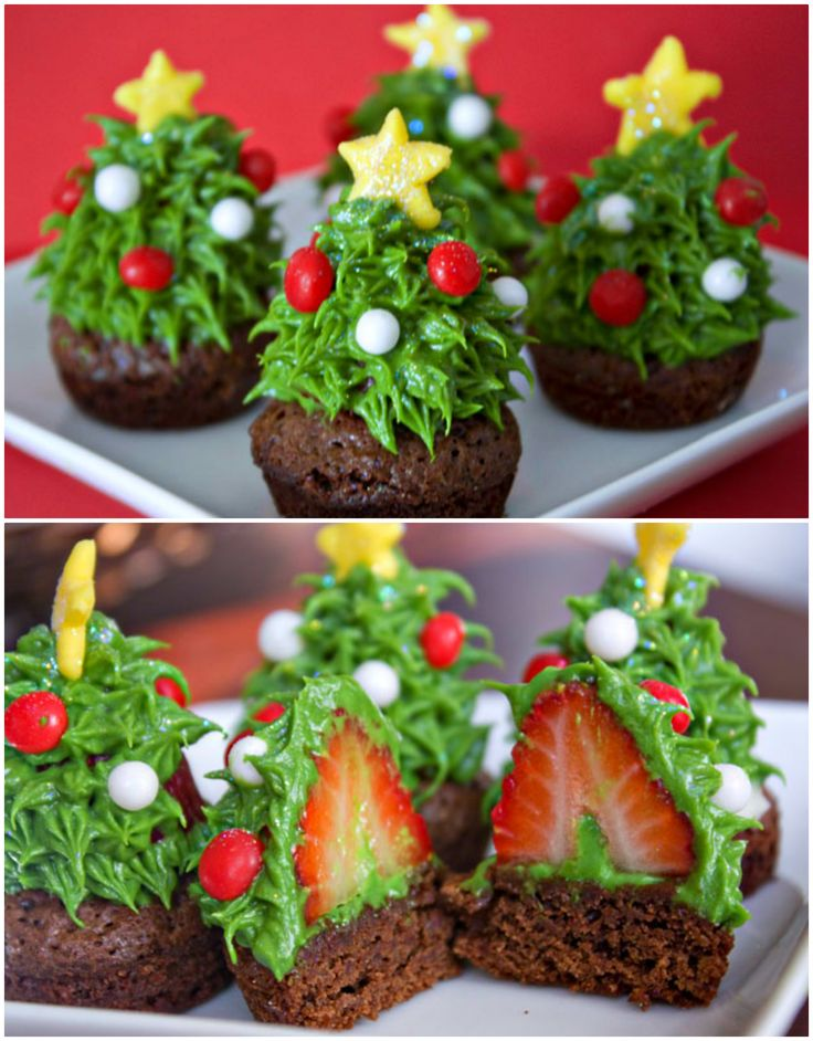 DIY Strawberry Christmas Tree Brownie Bites