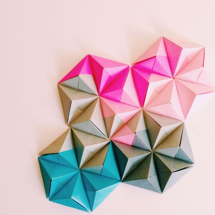 Sonobe unit origami wall art by Coco Sato