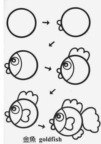 Simple steps to draw a goldfish. Ask children to draw it on Fisher Price barbie Doodle Pro or on Aquadoodle Paw Patrol Chase on the Case Mat from shop.childscastle.com...