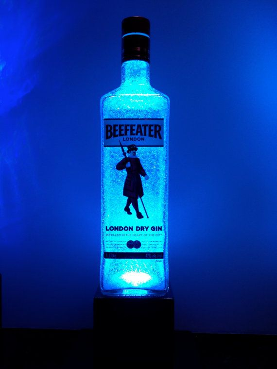 Glass Gin Bottle Lamp  Color changing LED by IlluminationStation, $60.00