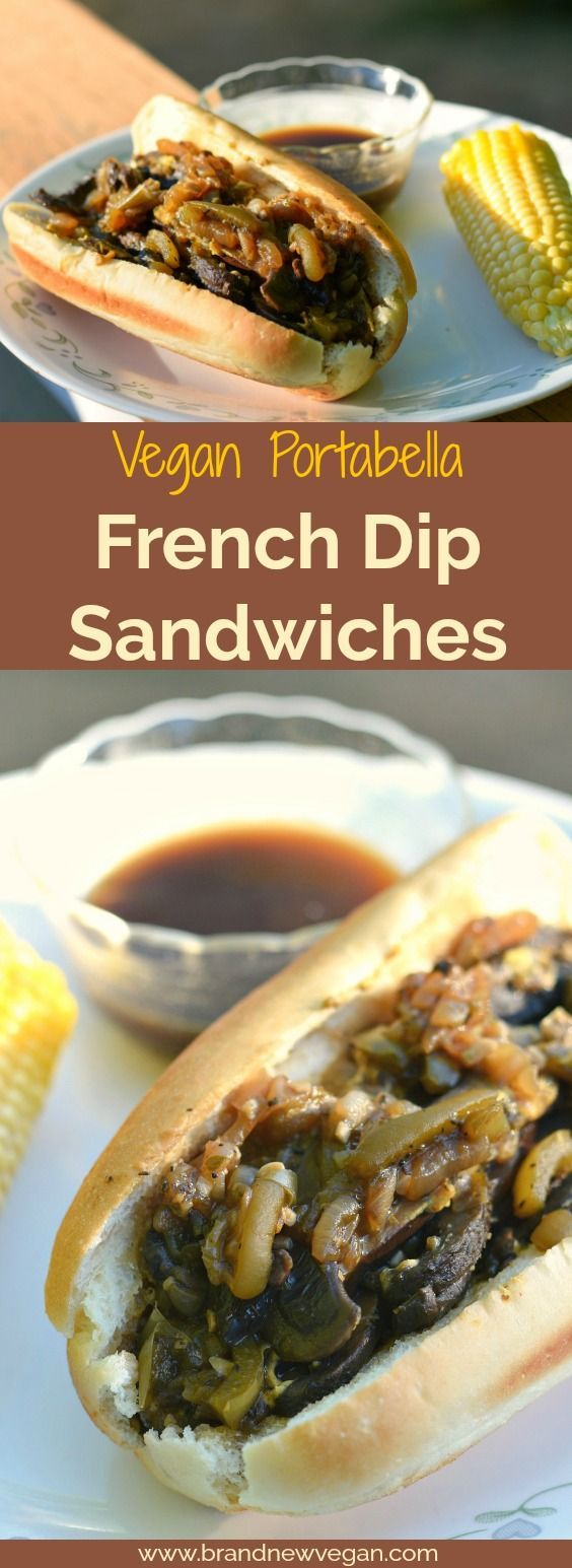 For all you sandwich lovers out there, these Vegan Portabella French Dip Sandwiches are IT! Mushrooms, caramelized onions, and a tangy Au Jus for Dipping!