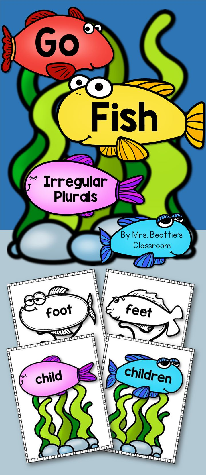 "This ""Go Fish"" style game from Mrs. Beattie's Classroom includes 24 common irregular plural nouns and their singular form. Students can use these as a matching activity, card game, flash cards, or any other purpose in your classroom!"