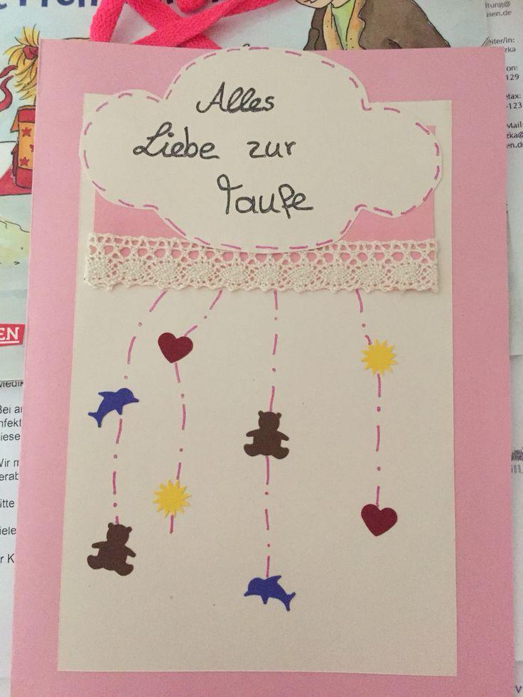 Meine selbst gestaltete Taufkarte. Besteht aus einer #Borte / #Spitze, #Tonpapier, #Motivlocher, #Ausstanzungen, #Gelstifte kamen zum Einsatz, #Teddy, #Delfin, #Herz, #Sonne und #Taube