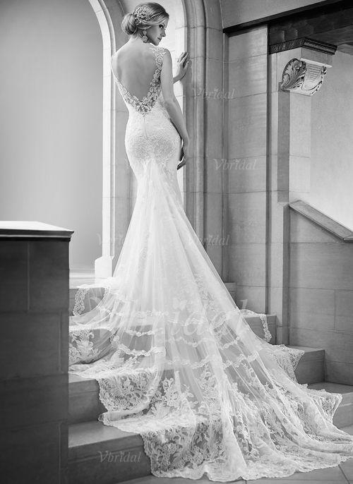 Robes de mariée - $224.43 - Forme Sirène/Trompette Col V Traîne mi-longue Tulle Dentelle Robe de mariée (0025058528)