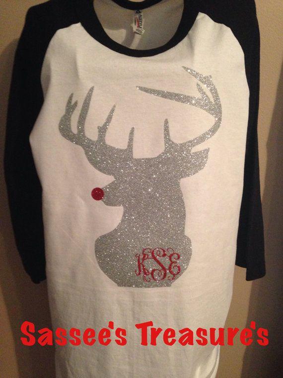 Reindeer Monogram Shirt/ monogram shirt / deer shirt/ Glitter bows/Rudolph the red nose reindeer/