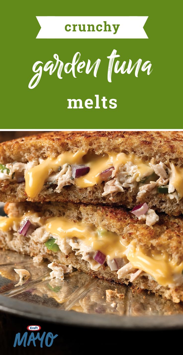 Crunchy Garden Tuna Melts – Crunchy peppers and onions mixed with mayo and tuna get grilled up warm and crunchy with melty cheese to create this tasty dish. Ready in 15 minutes, this is truly a quick and easy recipe.