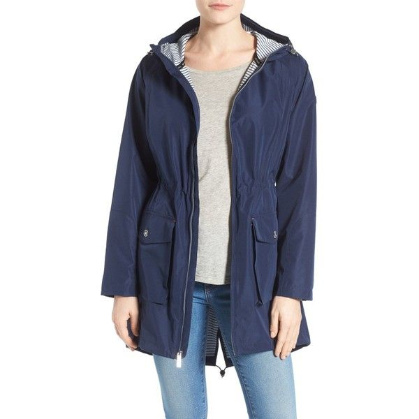 Women's Michael Michael Kors Hooded Raincoat ($90) ❤ liked on Polyvore featuring outerwear, coats, petite, petite raincoat, petite coats, anorak rain coat, water resistant coat and hooded raincoat