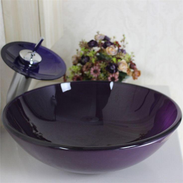 彩色上絵洗面ボウル&蛇口セット 洗面台 洗面器 手洗器 手洗い鉢 洗面ボール 排水金具付 濃い紫 円形 VT0001