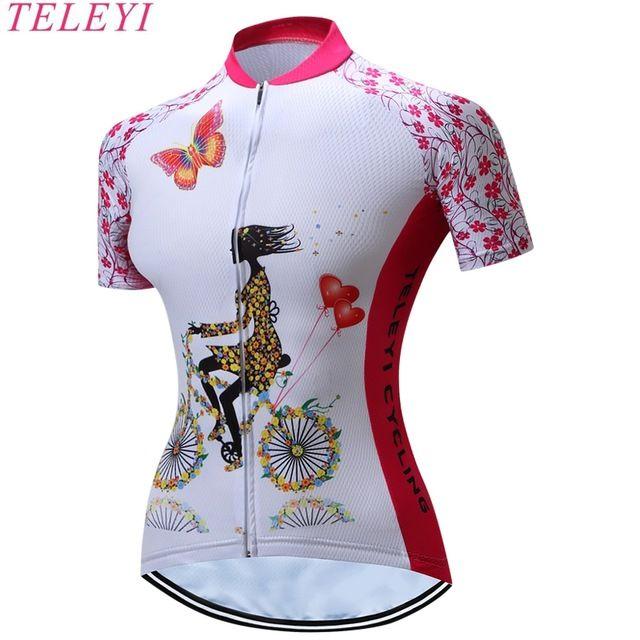 TELEYI Cycling Jersey Women.Outdoor Fitness Trainning Gym Sportswear. Mountain Bike Bicycle Clothing Anti-sweat Quick Dry