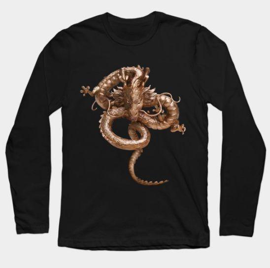 CooL Gold Dragon Long Sleeve T-Shirt #LongSleeve #TShirt #tee #clothing #dragonball #dragonballz #dragonball #shenlong #shenron #snake #chinese #dragon #gold #tattoo #japanese #yakuza #vegeta #songoku #cobrakai #karate #kungfu