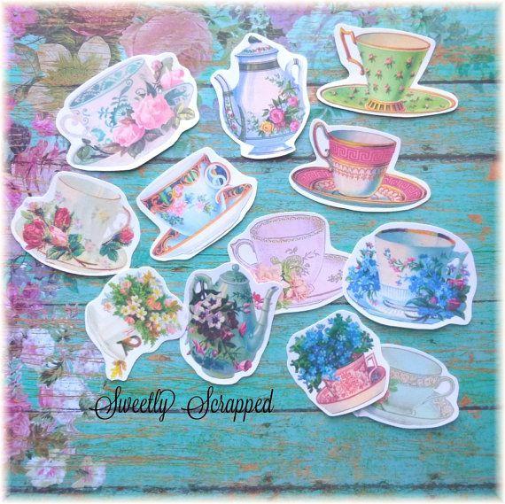002 TEA CUPS Embellishments, Paper .. Cut Outs, Vintage Image