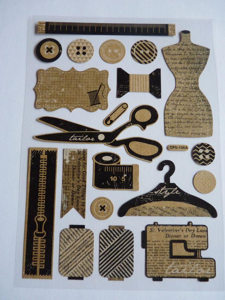 1 planche de stickers autocollants th me couture r f ssco parfaits scrapbooking carterie. Black Bedroom Furniture Sets. Home Design Ideas