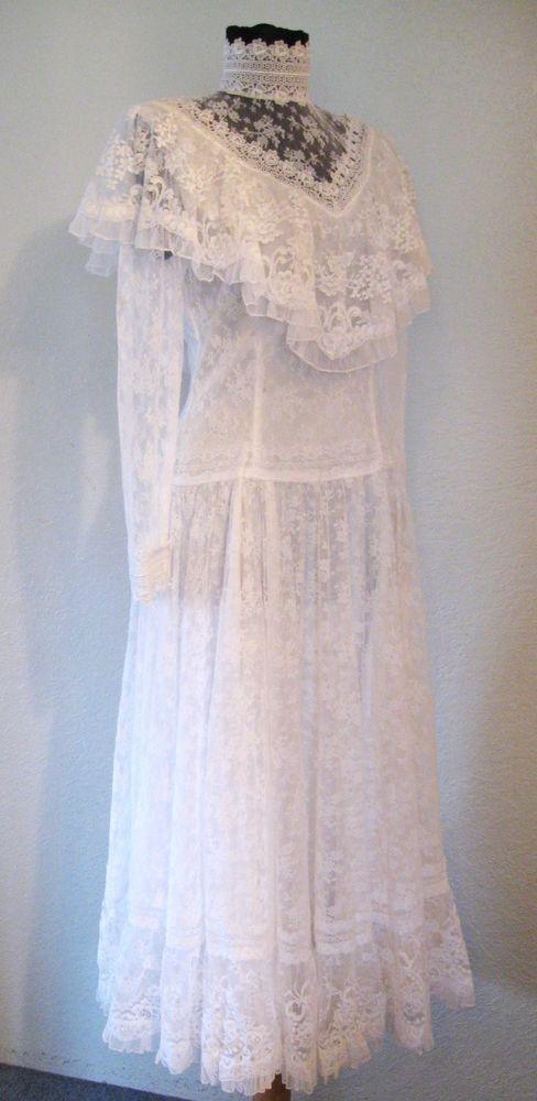 Vintage 1980s Jessica McClintock Lace Wedding Dress