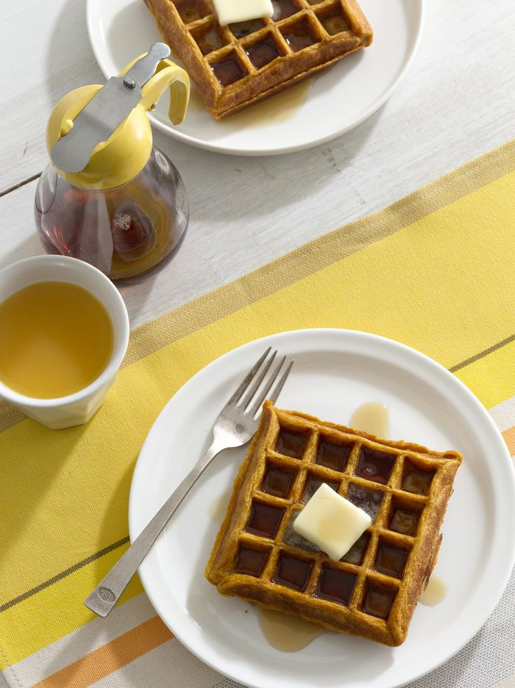 Pumpkin Waffles with Cinnamon Maple Syrup #myplate