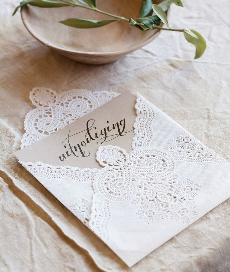 how to put guest names on wedding invitations%0A What a beautifully simple idea to add a touch of vintage to your wedding   Use a doily as your envelope and add a personal touch by writing your guests  name