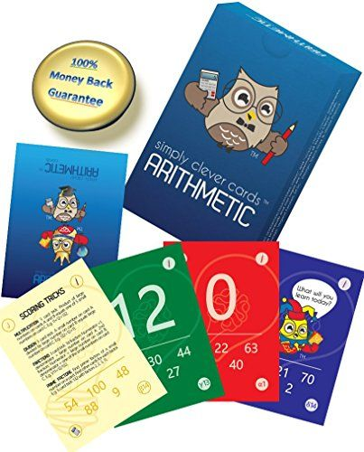 Math Flash Cards - Cool Kids Games: Multiplication, Division, Fractions, Addition, Subtraction. Age 7 & Up. Free Guide with Educational Learning Activities and Science Based Play for Children. Common Core Goal Standard. Great for Travel, Homework, Kindergarten, Home Schooling and Primary School. Intelligent Card Toys for Teachers, Families, Parents, Girls and Boys. - #flashcards