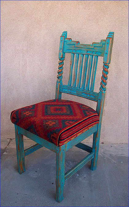 wonderful southwestern chair in turquoise paint and navajo pattern seat