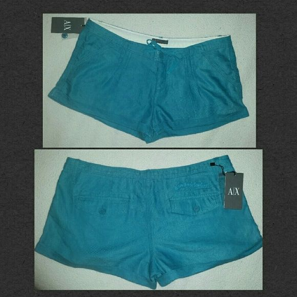 Armani Exchange Teal Shorts 72% linen, 28% polyester. Front and back pockets with pleats at the front. Drawstring. Armani Exchange embroidered on right back pocket. NWT. Armani Exchange Shorts