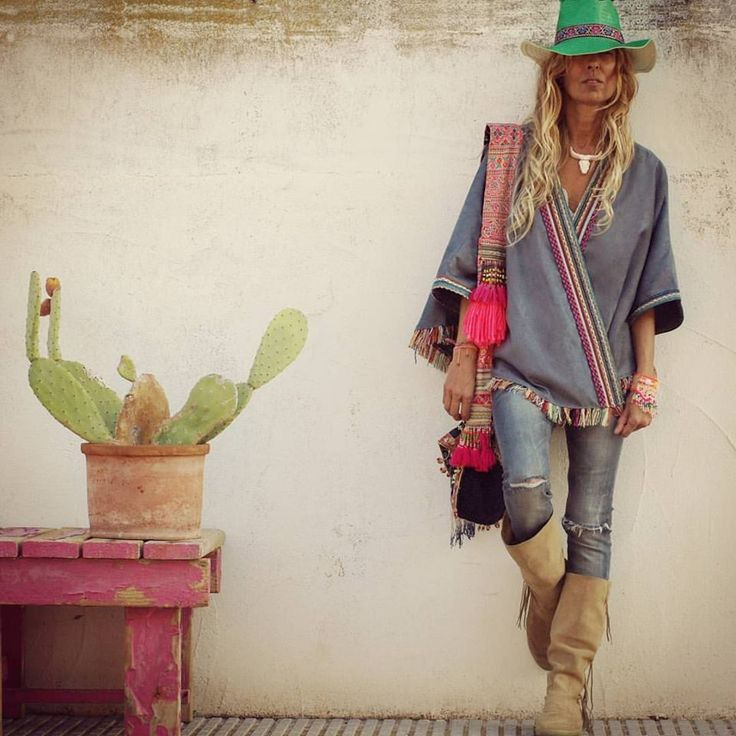 Funky modern hippie green hat with ethnic tribal inspired top and boho boots. For the best Bohemian fashion & jewelry FOLLOW >> https://www.pinterest.com/happygolicky/the-best-boho-chic-fashion-bohemian-jewelry-gypsy-/ << now.