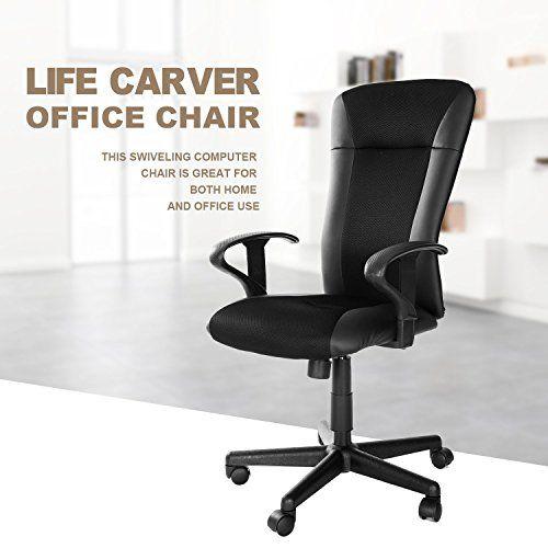 Life Carver® Black PU & Mesh High Back Office Chair Swivel Executive Ergonomic Computer Chair---35.99---