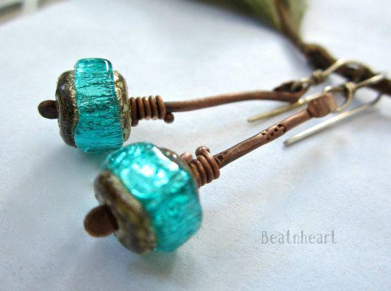 tribal stix artisan earrings aqua blue lamp work copper headpins sterling silver rustic primitive wire jewelry