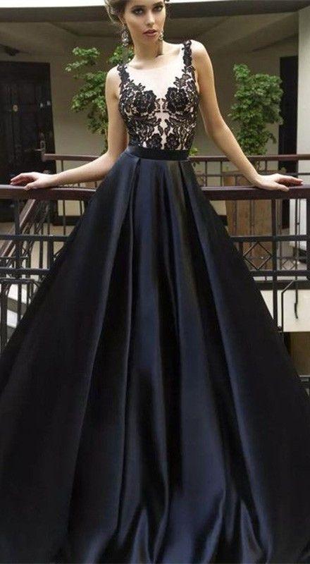 A-Line Sleeveless Lace Appliques Top Long Black Prom Dresses da159a0aa