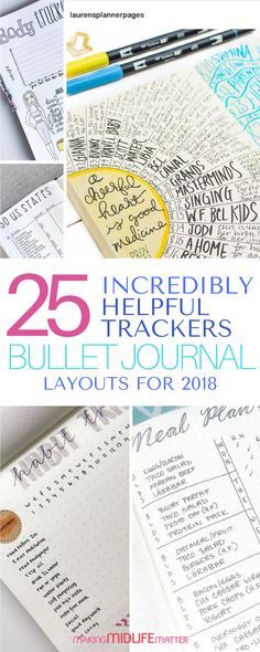 Bullet journal layouts and spreads you should try including trackers. #bulletjournal #planner