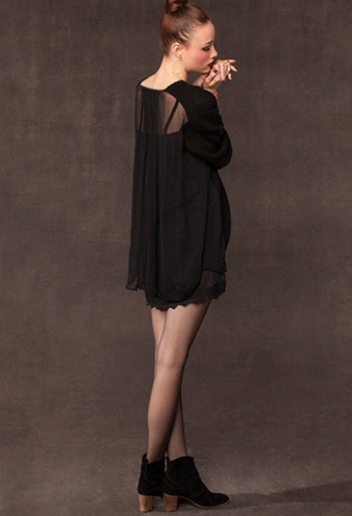 Chan Luu Black Sweater and Chiffon Back. - Knitwear - Products. monochrome sweater