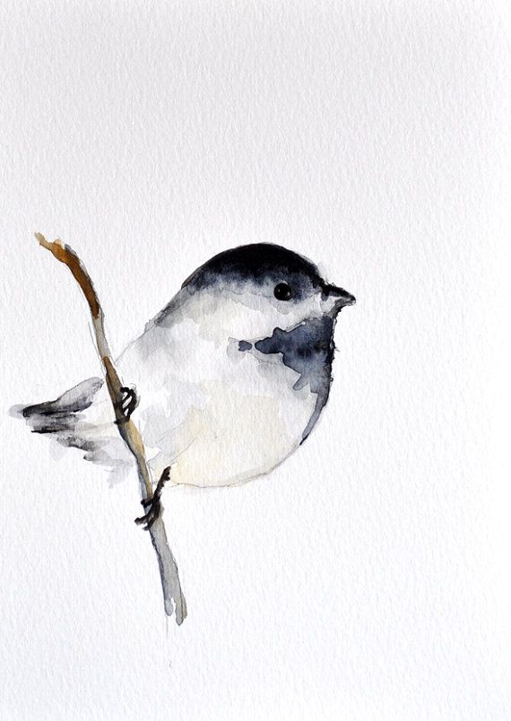 Chickadees always make me think if Mom. This might happen someday. Chickadee  ORIGINAL Watercolor bird painting/ by ArtCornerShop