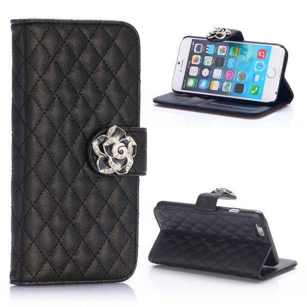 Zwart wallet hoesje met diamantsluiting voor iPhone 6