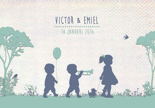 Geboortekaartje Victor en Emiel - voorkant - Pimpelpluis - https://www.facebook.com/pages/Pimpelpluis/188675421305550?ref=hl (# jongen - tweeling - trompet - eendje - boom - gras - vogel - bolderkar - ballon - silhouet - lief - origineel)