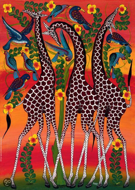 African Art   Tinga Tinga African Art Giraffes - Puzzel - 1000 stukjes