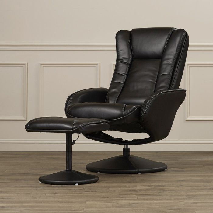 Alcott Hill Leather Heated Reclining Massage Chair & Ottoman Set & Reviews | Wayfair