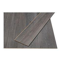 GOLV laminated flooring, dark grey, oak effect Length: 138 cm Width: 19.0 cm Plank thickness: 8 mm
