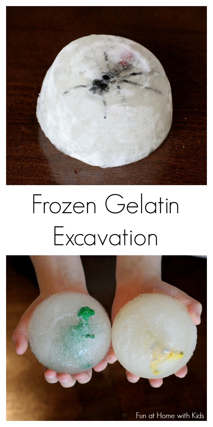 Frozen Gelatin Fossil Excavation - a twist on the classic ice excavation - it's freezing cold, a fun sensory experience, and safe for babies and toddlers!