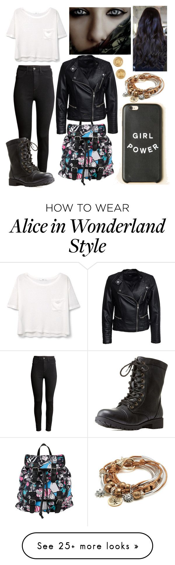 """""""Underworld #1"""" by letycalazans on Polyvore featuring Nexus, MANGO, Sisters Point, H&M, Charlotte Russe, Disney, Lizzy James and Versace"""