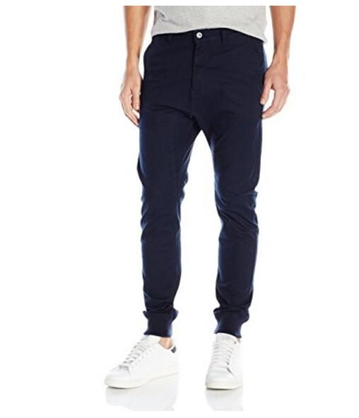 Men street style Navy Blue Chino Jogger Pants