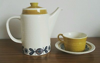 Stavangerflint Coffee Pot Cup & Saucer set by Inger Waage Kon Tiki 60s Norway