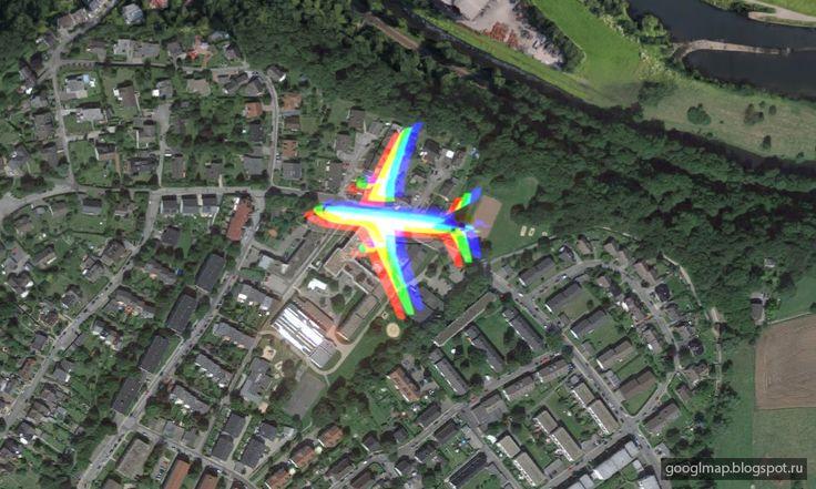 Западная Германия: радужный самолёт. #googlemaps