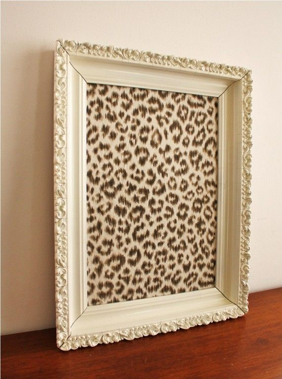 pretty pin board... Furniture vintage frame floral white bulletin board tack idea message leopard animal print toddler kid girl room classroom frame DIY