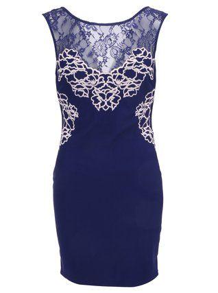 Lipsy - Tmavě modré krátké šaty s krajkou - 1
